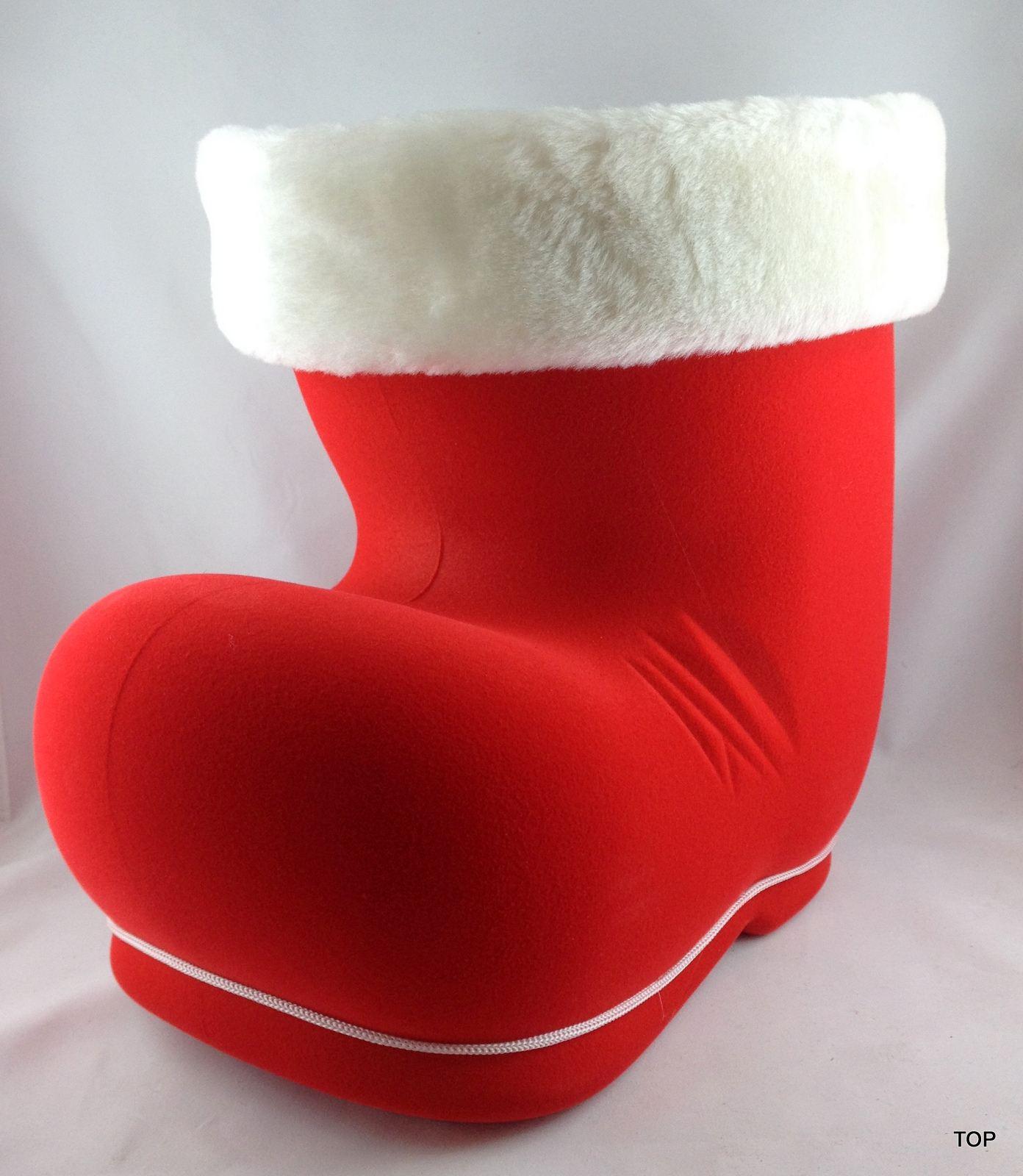 nikolausstiefel xxl rot mit samt wei er pl schfellrand zu weihnachten ca 24 cm hoch sehr gro. Black Bedroom Furniture Sets. Home Design Ideas