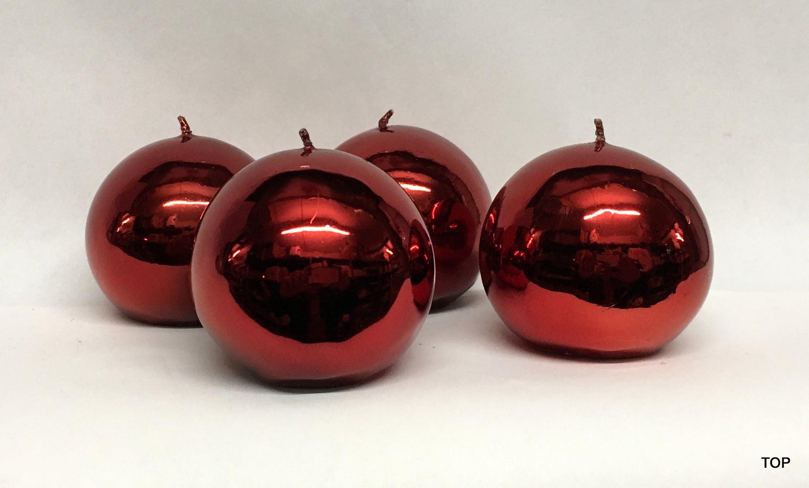 kerzen kugelkerzen k252r 6 2 cm durchmesser gl nzend farbe rot 4er set. Black Bedroom Furniture Sets. Home Design Ideas