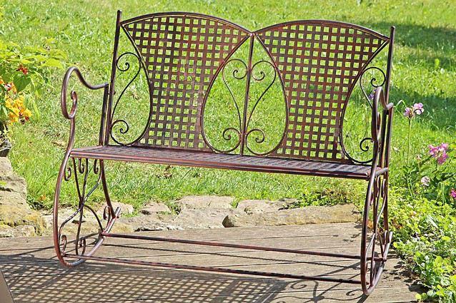 schaukelbank konya metall eisen braun schaukelstuhl nostalgie 2 sitzer metallbank gartenm bel. Black Bedroom Furniture Sets. Home Design Ideas