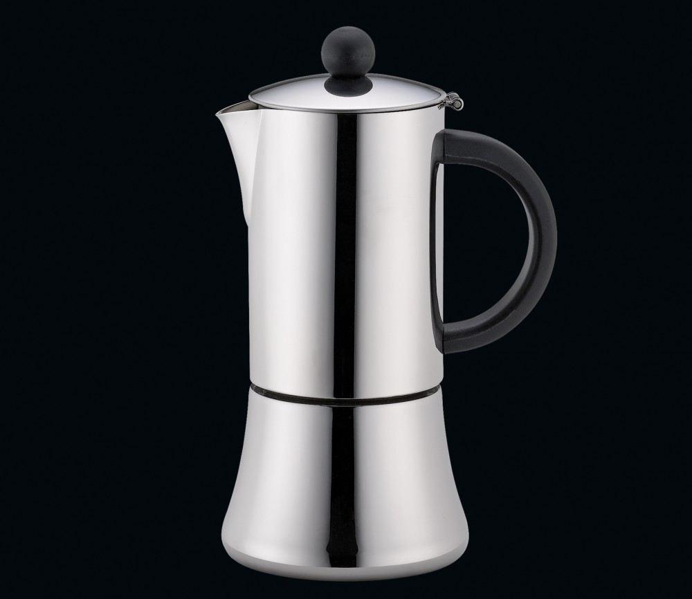 espressokocher tiziano 6 tassen schwarz edelstahl espressomaker induktion mokka bereiter. Black Bedroom Furniture Sets. Home Design Ideas