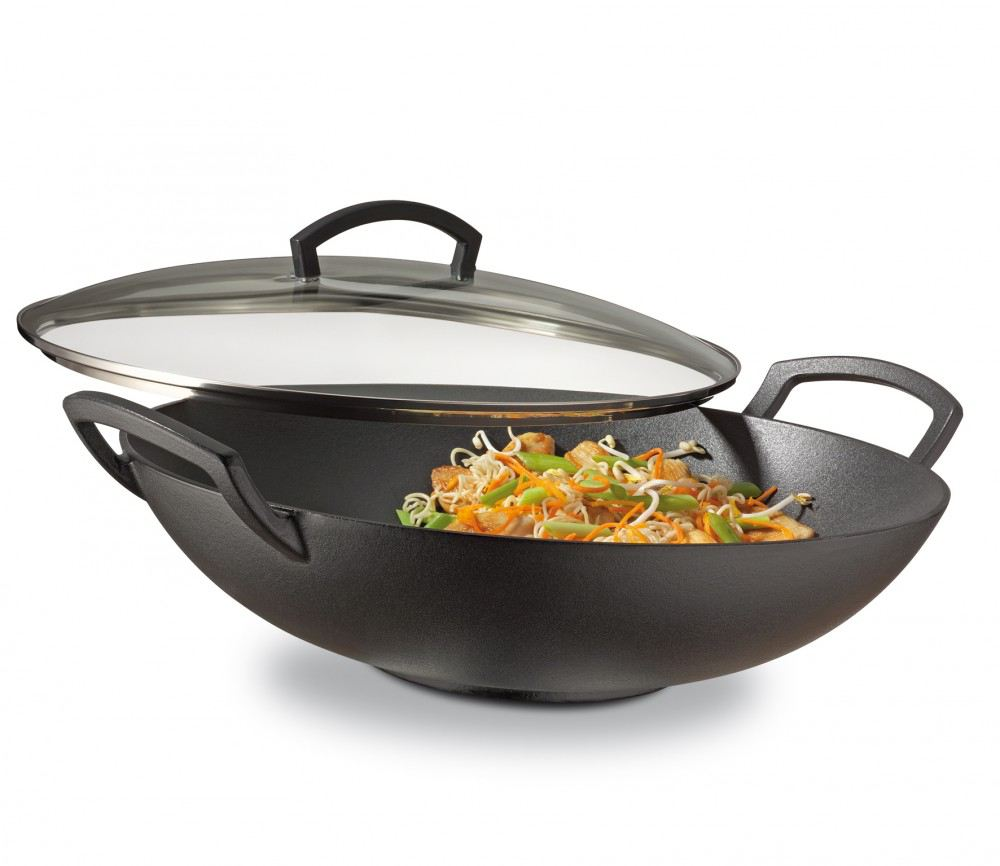 wok set mit glasdeckel 35 cm durchmesser pfanne wokpfanne gusseisen f r induktion schmorpfanne. Black Bedroom Furniture Sets. Home Design Ideas