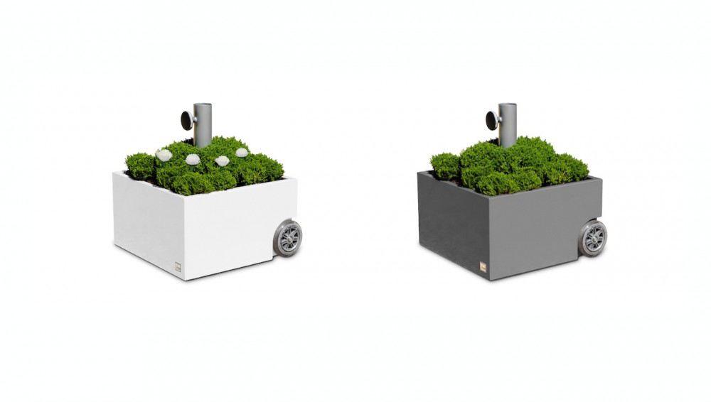 schirmst nder flowerpower wei grau pflanztrog sonnenschirm st nder schirm pflanzk bel lafeo. Black Bedroom Furniture Sets. Home Design Ideas