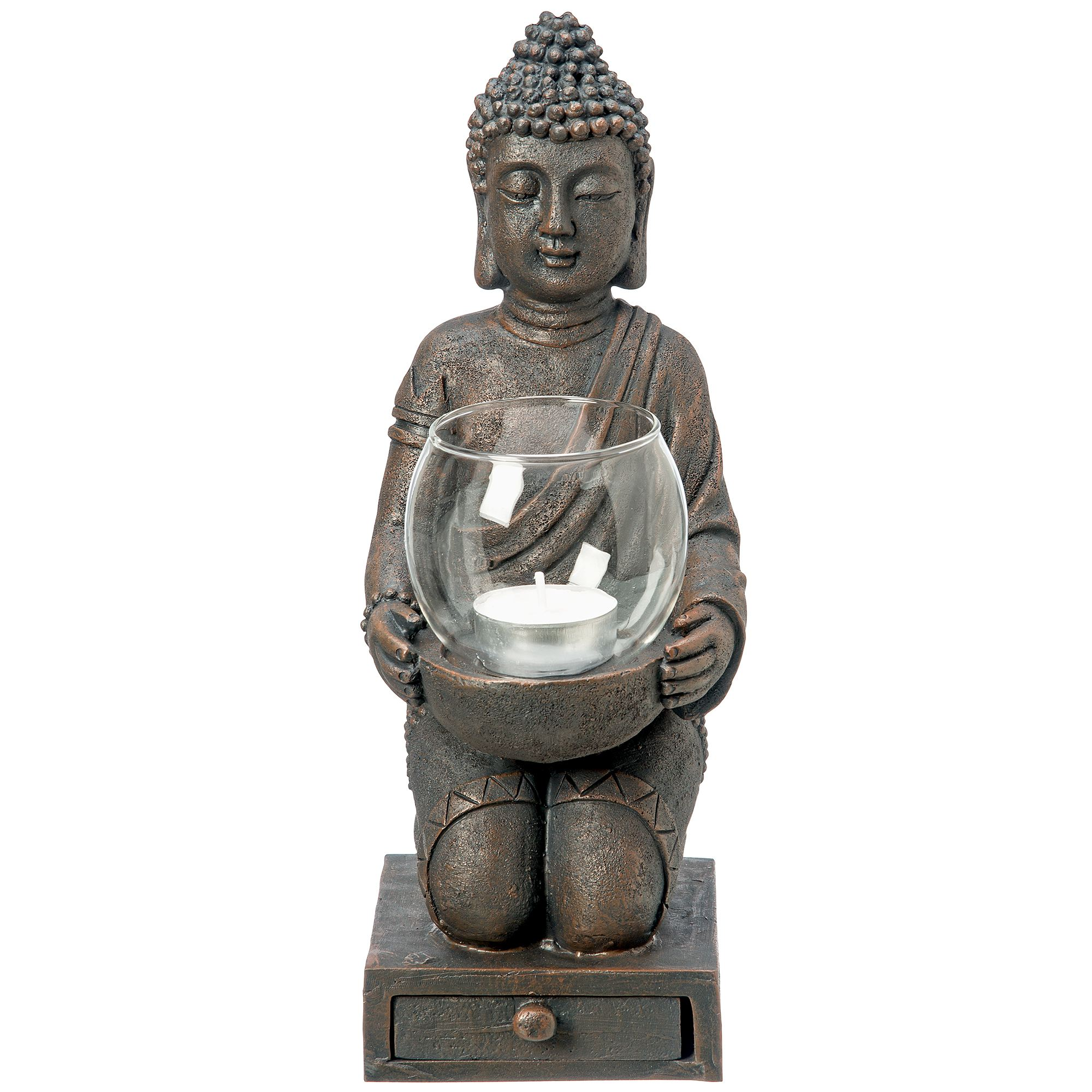 windlicht buddha 30 cm budda figur statue dekoration teelichthalter kerzenhalter kunstharz. Black Bedroom Furniture Sets. Home Design Ideas