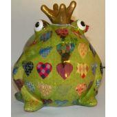 Pomme-Pidou Frosch grün mit Herzen, Spardose