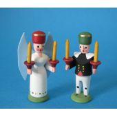 Engel und Bergmann Miniatur Holz Handarbeit Erzgebirge Seiffen