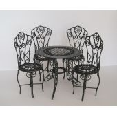 Puppenhaus Gartenmöbel Set grün Tisch 4 Stühle Metall Miniaturen 1:12