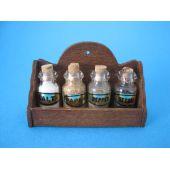 Puppenhaus Gewuerzregal inkl.4 Flaschen Küchenmöbel Miniatur 1:12