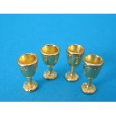Weinglas Kelche 4er Set goldfarben Puppenhaus Dekoration Miniaturen 1:12