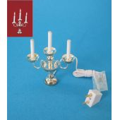Kerzenleuchter 3-armig silberfarben elektrisch  12V Puppenhaus Deko Miniatur 1:12