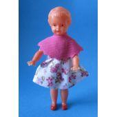 Puppe Mädchen 8 cm für die Puppenstube Miniatur 1:12 Schwenk