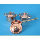 Kochtopf Pfannen Set 6 tlg. Metall Puppenhaus Küche Miniatur 1:12