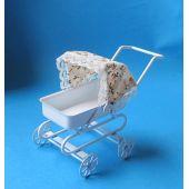 Puppenwagen weiss Metall für die Puppenstube Miniaturen 1:12