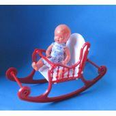 Schaukelstuhl klein rot mit Puppe  Puppenhausmöbel  Schwenk