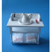 Badezimmer Waschtisch weiss mit Handtücher Krug Schüssel Puppenhaus Möbel Miniatur 1:12