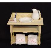 Badezimmer Waschtisch natur mit Handtücher Krug Schüssel Puppenhaus Möbel Miniatur 1:12