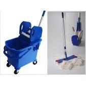 Wischset Vera blau Laschenmop 50 cm, Putzeimer mit Presse und Inneneimer, Mopset Laschenmophalter 50 cm, 3 Las