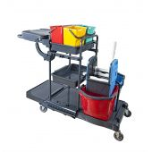 Servicewagen CleanSV PE Reinigungswagen Kunststoff, Putzwagen komplett ausgestattet, 4 x 6 Liter Eimer und 2 x