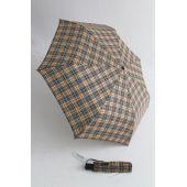 Happy Rain karierter Automatik Regenschirm braun 46859
