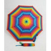 Benetton bunter Regenschirm gestreifter Taschenschirm automatik