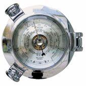 **Wetterstation mit Uhr in Bullaugenform aus massiv Messing, verchromt - Durchmesser 14 cm
