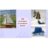 **Geschenkeset bestehend aus Segelyacht, Schiffsglocke+ Fischernetz