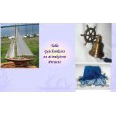 **Geschenkeset bestehend aus Segelyacht, Schiffsglocke- Steuerrad+ Fischernetz