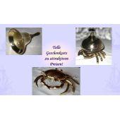 **Geschenkeset- Handglocke, Tresenglocke und Aschenbecher in Krabbenform- Messing