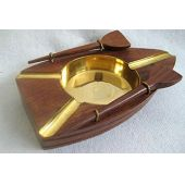 **maritimer Aschenbecher - Boot mit Rudern - Messing und Holz