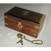 **Edle Holzbox- Anker- Messingscharniere+ Schloss mit 2 Schlüsseln an Kette- 14cm