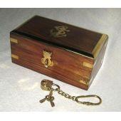 **Edle Holzbox- Anker- Messingscharniere+ Schloss mit 2 Schlüsseln an Kette- 18 cm
