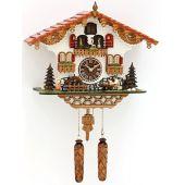 Schwarzwald- Kuckucksuhr- mit beweglichen Biertrinker, Mühlenrad, Tänzer und 12 Melod- Cuckoo Clocks