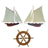 **3er Set- Steuerrad+ Wandmodell- Yacht, Segelschiff, Schiffsmodell Segelyacht