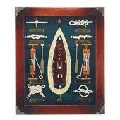 Sehr dekorative Knotentafel + Schiffsmodell + maritimen Accessoires