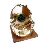 **XL- Edler Taucherhelm aus Kupfer und Messing US- Navy- Seefahrt- Nautik mit Holzsockel