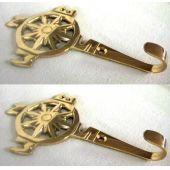 **2 Stück- maritimer Wandhaken- Schlüsselhaken- aus massiv Messing