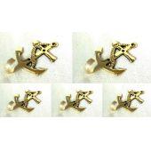 **5 Stück- Anker- maritimer Wandhaken- Schlüsselhaken- aus Messing L 8,6 cm