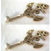 **2 Stück- maritimer Wandhaken- Schlüsselhaken- aus massiv Messing 13,5 cm