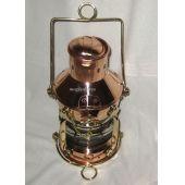 **Sehr massive Petroleum- Ankerlampe - Kupfer/Messing H 32 cm