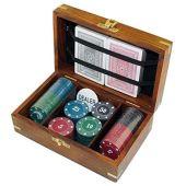 Pokerspiel in Holzbox mit Messingintarsien