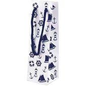 10 Stück- Edle Glanz- Geschenktaschen- Flaschenbeutel- lackiert- marine/weiß