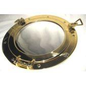**Massiver Bullaugenspiegel zum öffnen - aus Messing und Glas 28,5 cm