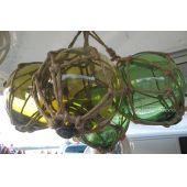 **4 Fischerkugeln im Netz- grün und ambere (braun) 12,5 cm