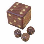 **Würfel in Box aus Holz und Messingintarsien- Messingnummern