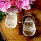 Trommelstein Bergkristall gebohrt mit Wechselbogen