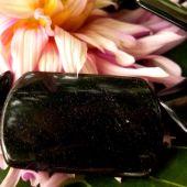 Obsidian Platte gebohrt 3,5 x 2,5 cm, Stück