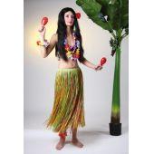 Bastrock - Hula - Hawaii - knielang - bunt oder natur - ca. 40 cm