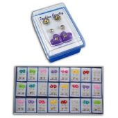 Ohrringe - Ohrstecker - 3 Paar - bunt - für Kinder - Motiv: Herz