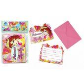 12 Einladungskarten - Prinzessin - mit passendem Briefumschlag