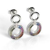 Neu: Mehrfarbige Ohrringe Stecker hängend 925 Silber
