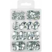 Acryl Diamantensortimet flach 6 -18mm; kristall